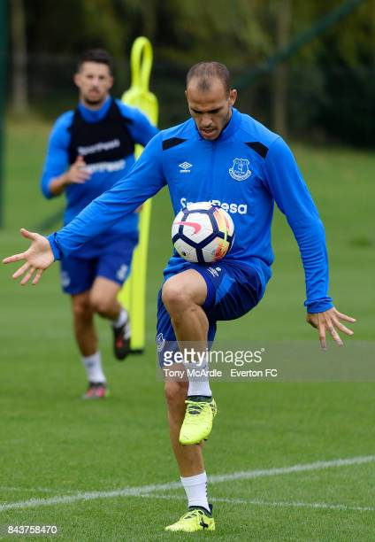 Sandro Ramirez of Everton during the Everton FC training session at USM Finch Farm on September 7 2017 in Halewood England