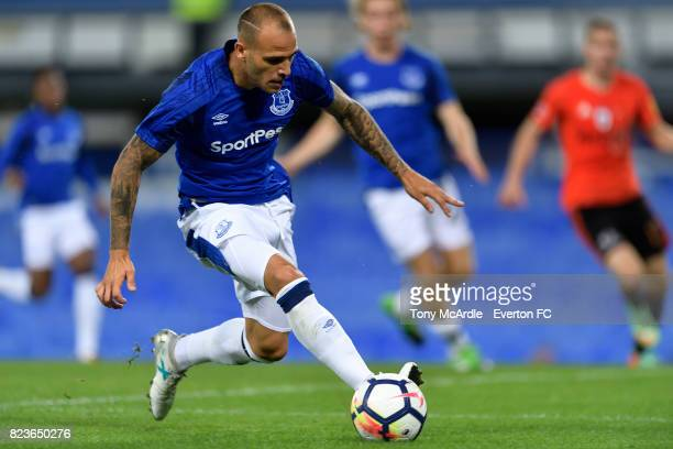 Sandro Ramirez of Everton during the UEFA Europa League Third Qualifying Round First Leg match between Everton and Ruzomberok at Goodison Park on...