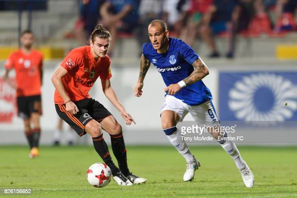 Sandro Ramirez of Everton during UEFA Europa League Qualifier match between MFK Ruzomberok and Everton on August 3 2017 in Ruzomberok Slovakia