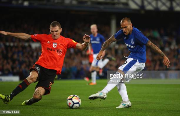 Sandro Ramirez of Everton in action during the UEFA Europa League Third Qualifying Round First Leg match between Everton and MFK Ruzomberok at...