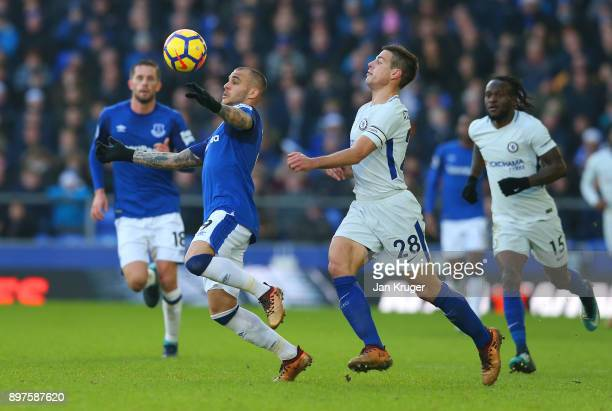 Sandro Ramirez of Everton is challenged by Cesar Azpilicueta of Chelsea during the Premier League match between Everton and Chelsea at Goodison Park...