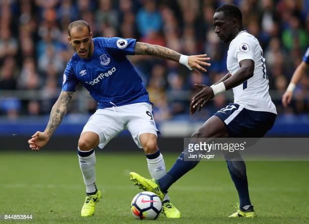 Sandro Ramirez of Everton puts pressure on Moussa Sissoko of Tottenham Hotspur during the Premier League match between Everton and Tottenham Hotspur...