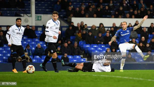 Sandro Ramirez of Everton scores his sides first goal during the UEFA Europa League group E match between Everton FC and Atalanta at Goodison Park on...