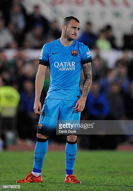 Sandro Ramirez of FC Barcelona reacts during the Copa del Rey Last of 16 First Leg match between CF Villanovense and FC Barcelona at estadio Romero...