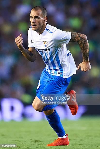 Sandro Ramirez of Malaga CF in action during the match between Real Betis Balompie vs Malaga CF as part of La Liga at Benito Villamarin stadium on...