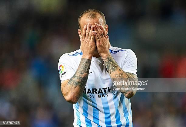 Sandro Ramirez of Malaga CF reacts after missing a chance of goal during La Liga match between Malaga CF and Granada CF at La Rosaleda Stadium...