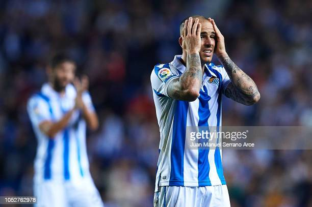 Sandro Ramirez of Real Sociedad reacts during the La Liga match between Real Sociedad and Girona FC at Estadio Anoeta on October 22 2018 in San...