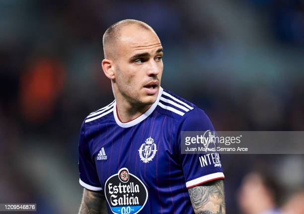 Sandro Ramirez of Real Valladolid CF reacts during the Liga match between Real Sociedad and Real Valladolid CF at Estadio Anoeta on February 28 2020...