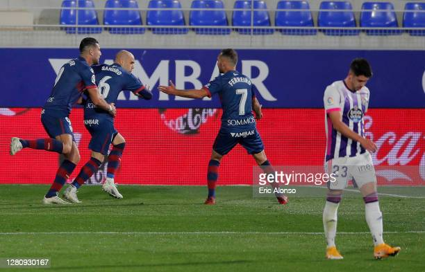 Sandro Ramirez of SD Huesca of SD Huesca celebrates after scoring his team's second goal during the La Liga Santander match between SD Huesca and...