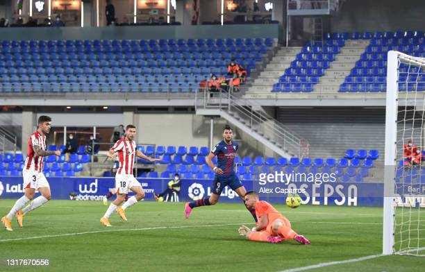 Sandro Ramirez of SD Huesca scores their sides first goal past Unai Simon of Athletic Club during the La Liga Santander match between SD Huesca and...
