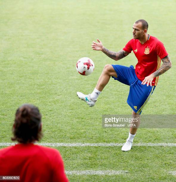 Sandro Ramirez of Spain juggle the ball during the MD1 training session of the U21 national team of Spain at Krakow stadium on June 29 2017 in Krakow...