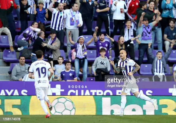 Sandro Ramirez of Valladolid celebrates after scoring his team's first goal during the La Liga match between Real Valladolid CF and RCD Espanyol at...