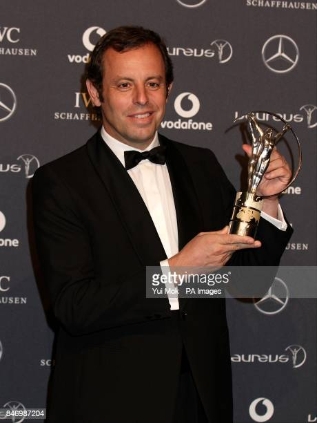 Sandro Rosell the Barcelona FC Chairman with the trophy for winners of the Laureus World Team of the Year during 2012 Laureus World Sports Awards at...