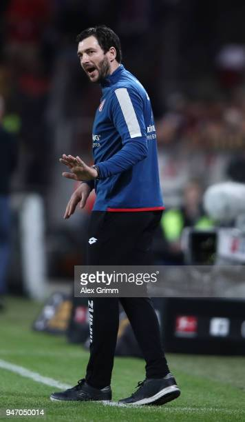 Sandro Schwarz head coach of Mainz gestures during the Bundesliga match between 1 FSV Mainz 05 and SportClub Freiburg at Opel Arena on April 16 2018...