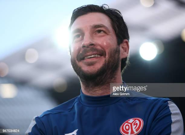 Sandro Schwarz head coach of Mainz looks on prior to the Bundesliga match between 1 FSV Mainz 05 and SportClub Freiburg at Opel Arena on April 16...