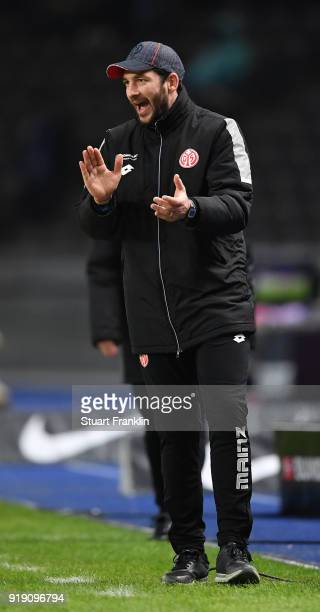 Sandro Schwarz head coach of Mainz reacts during the Bundesliga match between Hertha BSC and 1 FSV Mainz 05 at Olympiastadion on February 16 2018 in...