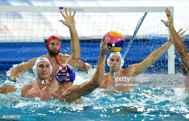Sandro Sukno of Croatia scores a goal against Hungary in 'Hajos Alfred' swimming pool of Budapest on July 29 2017 during the men final of FINA2017...