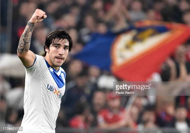 Sandro Tonali of Brescia Calcio celebrates after goal 0-1 during the Serie A match between Genoa CFC and Brescia Calcio at Stadio Luigi Ferraris on...