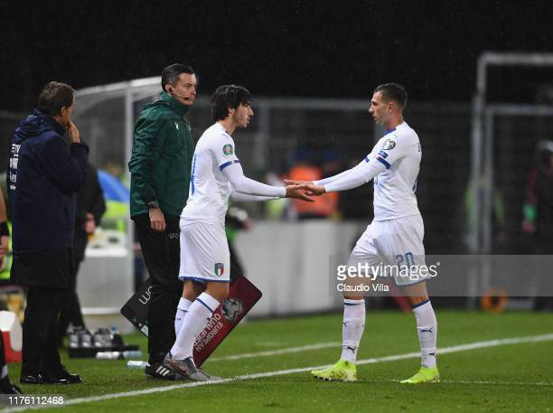 Sandro Tonali of Italy in his debut with his national team during the UEFA Euro 2020 qualifier between Liechtenstein and Italy on October 15, 2019 in...