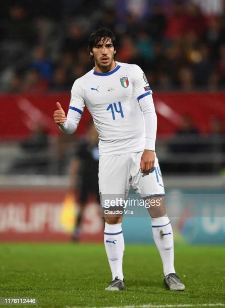 Sandro Tonali of Italy reacts during the UEFA Euro 2020 qualifier between Liechtenstein and Italy on October 15, 2019 in Vaduz, Liechtenstein.