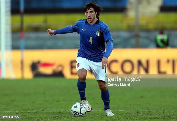 Sandro Tonali of Italy U21 in action during the UEFA Euro Under 21 Qualifier match between Italy U21 and Ireland U21 at Arena Garibaldi on October...