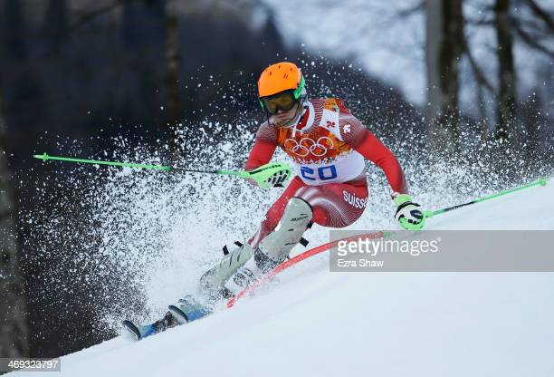 Sandro Viletta of Switzerland competes during the Alpine Skiing Men's Super Combined Downhill on day 7 of the Sochi 2014 Winter Olympics at Rosa...