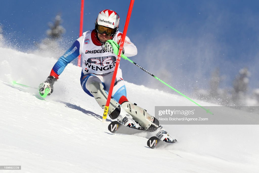 Sandro Viletta of Switzerland competes during the Audi FIS Alpine Ski World Cup Men's Super Combined on January 18, 2013 in Wengen, Switzerland.