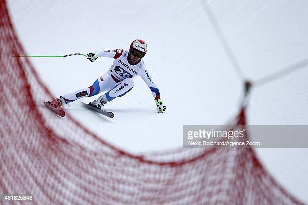 Sandro Viletta of Switzerland competes during the Audi FIS Alpine Ski World Cup Men's Super Combined on January 16 2015 in Wengen Switzerland