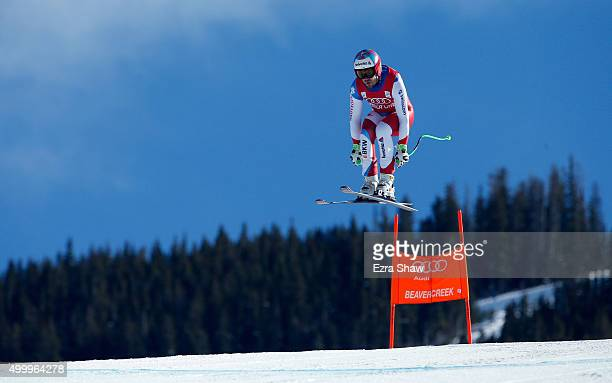 Sandro Viletta of Switzerland goes over the Red Tail jump during the Audi FIS Ski World Cup downhill race on the Birds of Prey on December 4 2015 in...