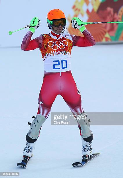 Sandro Viletta of Switzerland jubilates during the Alpine Skiing Men's Super Combined Downhill on day 7 of the Sochi 2014 Winter Olympics at Rosa...