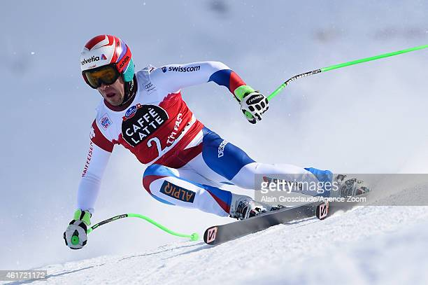 Sandro Viletta of Switzerland of Switzerland competes during the Audi FIS Alpine Ski World Cup Men's Downhill on January 18 2015 in Wengen Switzerland