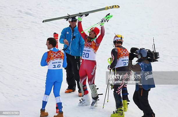Sandro Viletta of Switzerland reacts during the Alpine Skiing Men's Super Combined Downhill on day 7 of the Sochi 2014 Winter Olympics at Rosa Khutor...
