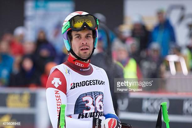 Sandro Viletta of Switzerland reacts in the finish area during the Audi FIS Alpine Ski World Cup Men's Downhill on February 28 2014 in Ringebu Norway