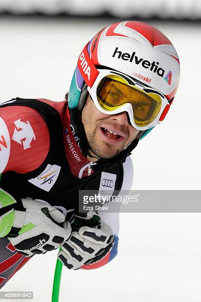 Sandro Viletta of Switzerland stands at the finish line after completing a training run for the Audi FIS World Cup on the Birds of Prey on December 3...