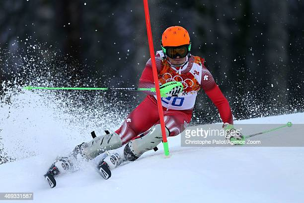 Sandro Viletta of Switzerland wins the gold medal during the Alpine Skiing Men's Super Combined at the Sochi 2014 Winter Olympic Games at Rosa Khutor...
