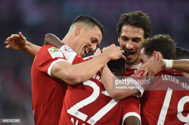Sandro Wagner David Alaba Mats Hummels and Sebastian Rudy of Bayern Munich celebrate a goal during the German Bundesliga soccer match between FC...