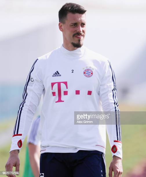 Sandro Wagner looks on during a training session on day 6 of the FC Bayern Muenchen training camp at ASPIRE Academy for Sports Excellence on January...