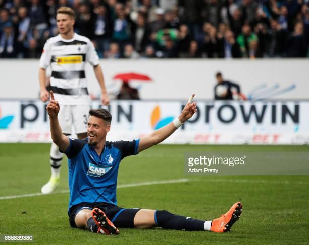 Sandro Wagner of 1899 Hoffenheim celebrates after a goal during the Bundesliga match between TSG 1899 Hoffenheim and Borussia Moenchengladbach at...