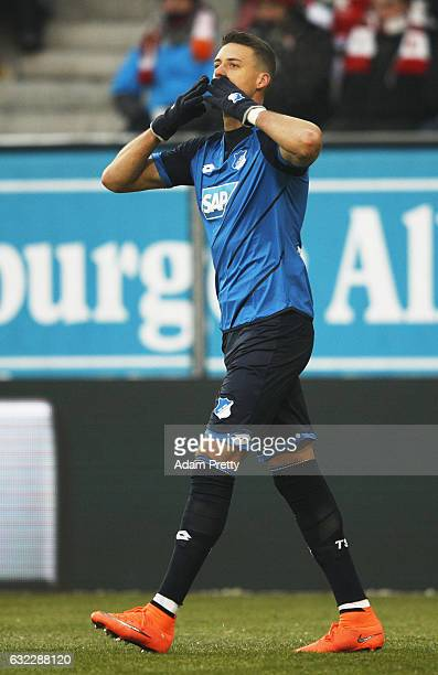 Sandro Wagner of 1899 Hoffenheim celebrates after scoring the first goal during the Bundesliga match between FC Augsburg and TSG 1899 Hoffenheim at...