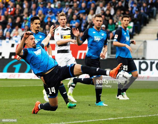 Sandro Wagner of 1899 Hoffenheim scores a goal during the Bundesliga match between TSG 1899 Hoffenheim and Borussia Moenchengladbach at Wirsol...