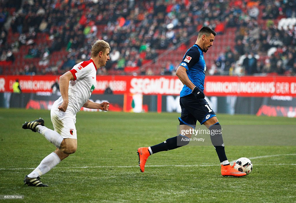 Sandro Wagner of 1899 Hoffenheim scores the first goal during the Bundesliga match between FC Augsburg and TSG 1899 Hoffenheim at WWK Arena on January 21, 2017 in Augsburg, Germany.