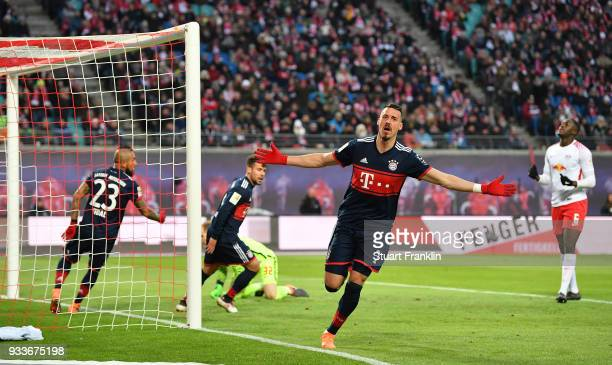 Sandro Wagner of Bayern celebrates scoring the first goal during the Bundesliga match between RB Leipzig and FC Bayern Muenchen at Red Bull Arena on...
