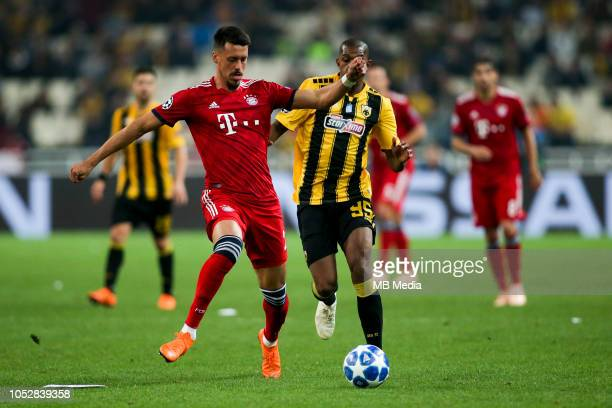 Sandro Wagner of Bayern in action against Alef of AEK during the Group E match of the UEFA Champions League between AEK Athens and FC Bayern Muenchen...