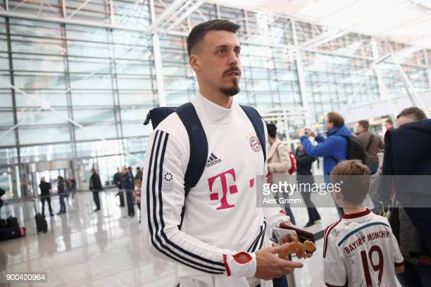 Sandro Wagner of Bayern Muenchen arrives at the airport for the departure to the team's training camp in Doha Qatar on January 2 2018 in Munich...
