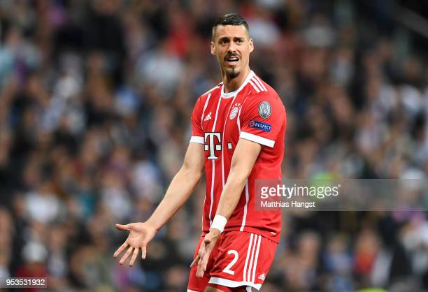 Sandro Wagner of Bayern Muenchen reacts during the UEFA Champions League Semi Final Second Leg match between Real Madrid and Bayern Muenchen at the...