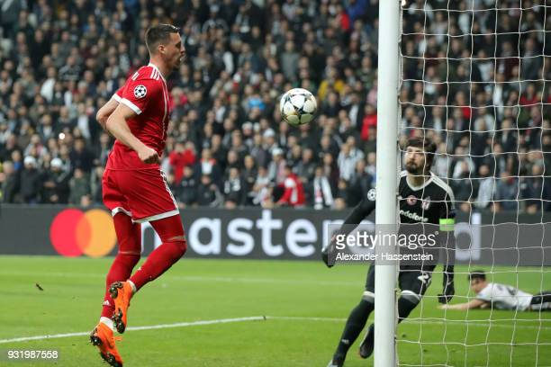 Sandro Wagner of Bayern Muenchen scores their third goal during the UEFA Champions League Round of 16 Second Leg match Besiktas and Bayern Muenchen...