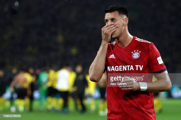 Sandro Wagner of Bayern Munich looks dejected following his sides defeat in the Bundesliga match between Borussia Dortmund and FC Bayern Muenchen at...