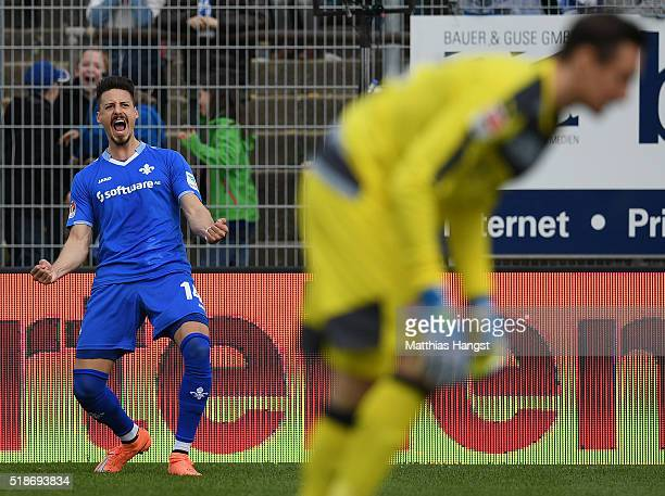 Sandro Wagner of Darmstadt celebrates after scoring his team's first goal during the Bundesliga match between SV Darmstadt and VfB Stuttgart at...