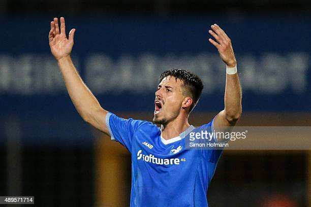 Sandro Wagner of Darmstadt celebrates his team's second goal during the Bundesliga match between SV Darmstadt 98 and Werder Bremen at Merck-Stadion...