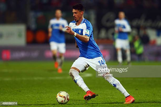 Sandro Wagner of Darmstadt controles the ball during the Bundesliga match between SV Darmstadt 98 and 1 FC Koeln at MerckStadion am Boellenfalltor on...